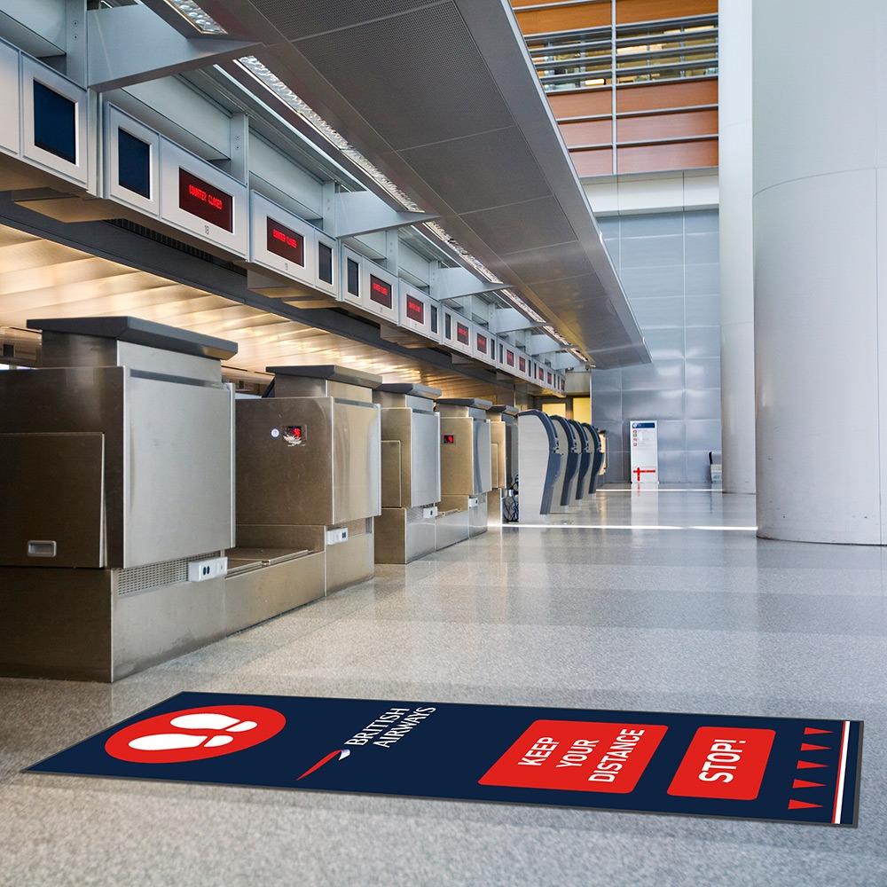Social Distancing Floor Mats Branded