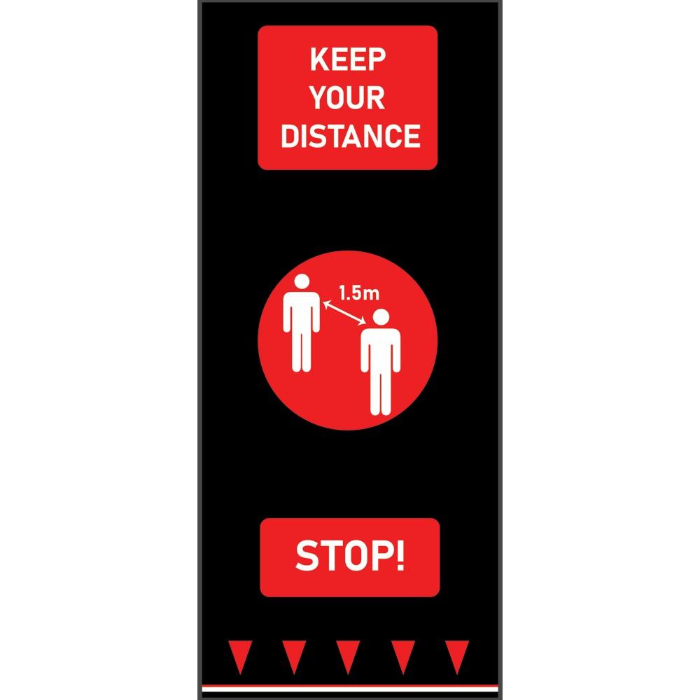Social Distancing Floor Mats Keep Your Distance Red